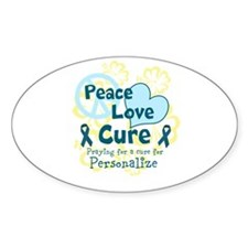 Teal Peace Love Cure Decal