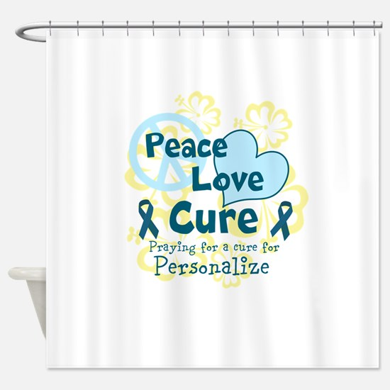 Teal Peace Love Cure Shower Curtain