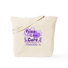 Purple Peace Love Cure Tote Bag