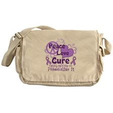 Purple Peace Love Cure Messenger Bag