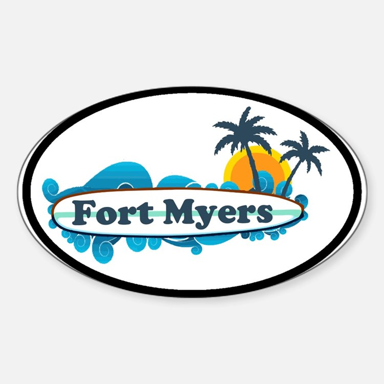 Fort Myers - Surf Design. Sticker (Oval)