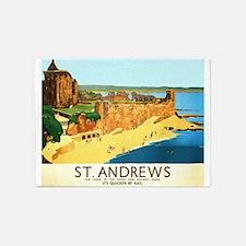 St. Andrews, Golf, Vintage Poster 5'x7'Area Rug