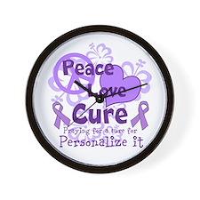 Purple Peace Love Cure Wall Clock