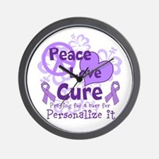 Purple Peace Love Cure Wall Clock