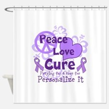 Purple Peace Love Cure Shower Curtain