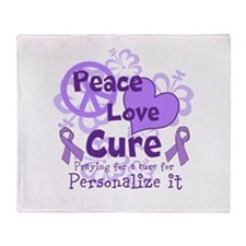Purple Peace Love Cure Throw Blanket