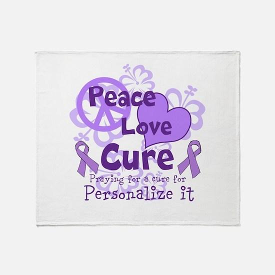 Purple Peace Love Cure Throw Blanket