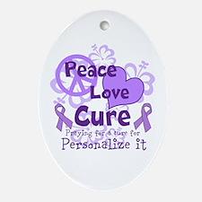 Purple Peace Love Cure Ornament (Oval)