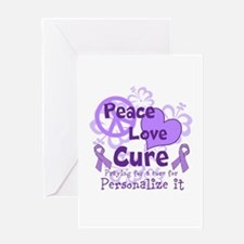 Purple Peace Love Cure Greeting Card