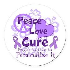 Purple Peace Love Cure Round Car Magnet
