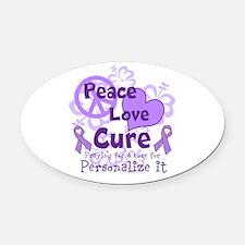 Purple Peace Love Cure Oval Car Magnet
