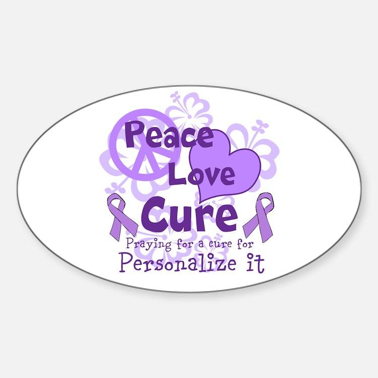 Purple Peace Love Cure Decal