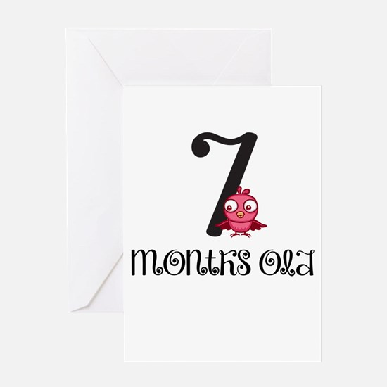 7 Months Old Birdie Baby Milestone Greeting Card