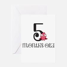 5 Months Old Birdie Baby Milestone Greeting Card