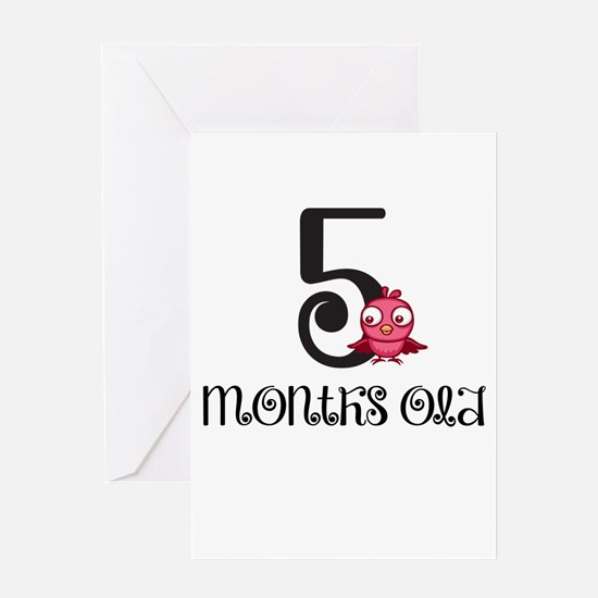 5 Months Old Birdie Baby Milestone Greeting Card
