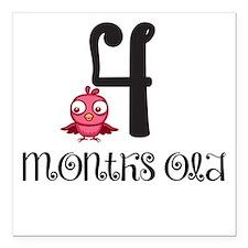 4 Months Old Birdie Baby Milestone Square Car Magn