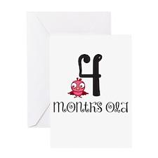 4 Months Old Birdie Baby Milestone Greeting Card