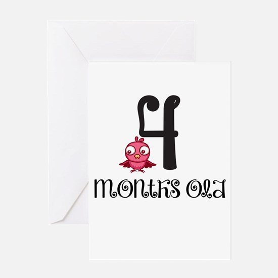 4 Months Old Birdie Baby Milestone Greeting Card