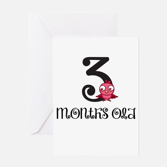 3 Months Old Birdie Baby Milestone Greeting Card