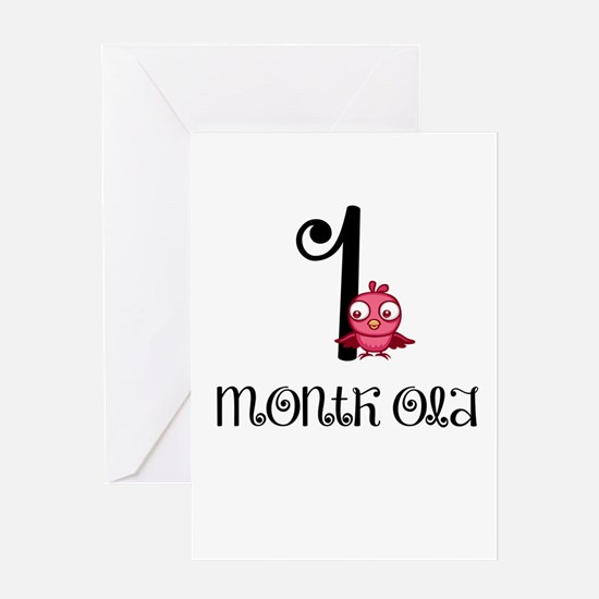 1 Months Old Birdie Baby Milestone Greeting Card