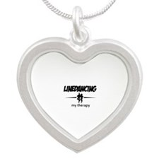 Linedancing my therapy Silver Heart Necklace
