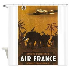 Africa, Elephants, Vintage Poster Shower Curtain