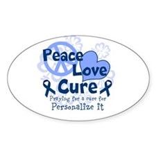 Blue Peace Love Cure Decal