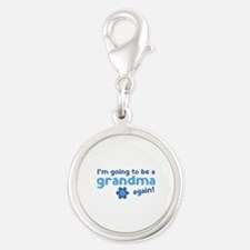I'm going to be a grandma again Silver Round Charm