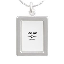 Long Jump my therapy Silver Portrait Necklace