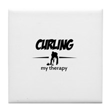 Curling my therapy Tile Coaster