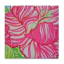 Hibiscus in Lilly Pulitzer Tile Coaster