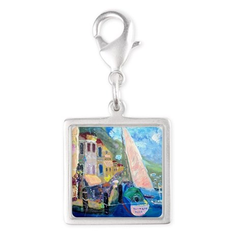 Art By Stamos Silver Square Charm