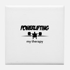 Powerlifting my therapy Tile Coaster
