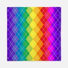 Rainbow Argyle Pattern Queen Duvet