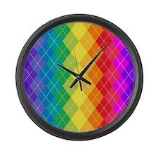 Rainbow Argyle Pattern Large Wall Clock