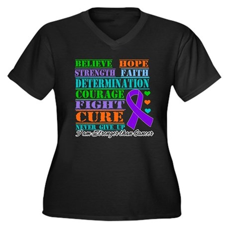 Pancreatic Cancer Believe Strength Plus Size T-Shi