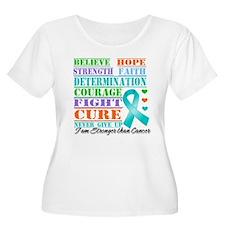 Ovarian Cancer Believe Strength Plus Size T-Shirt