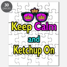 Crown Sunglasses Keep Calm And Ketchup On Puzzle