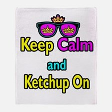 Crown Sunglasses Keep Calm And Ketchup On Throw Bl
