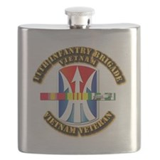 Army - 11th Infantry Bde w Svc Ribbons Flask