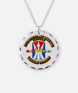 Army - 11th Infantry Bde w Svc Ribbons Necklace