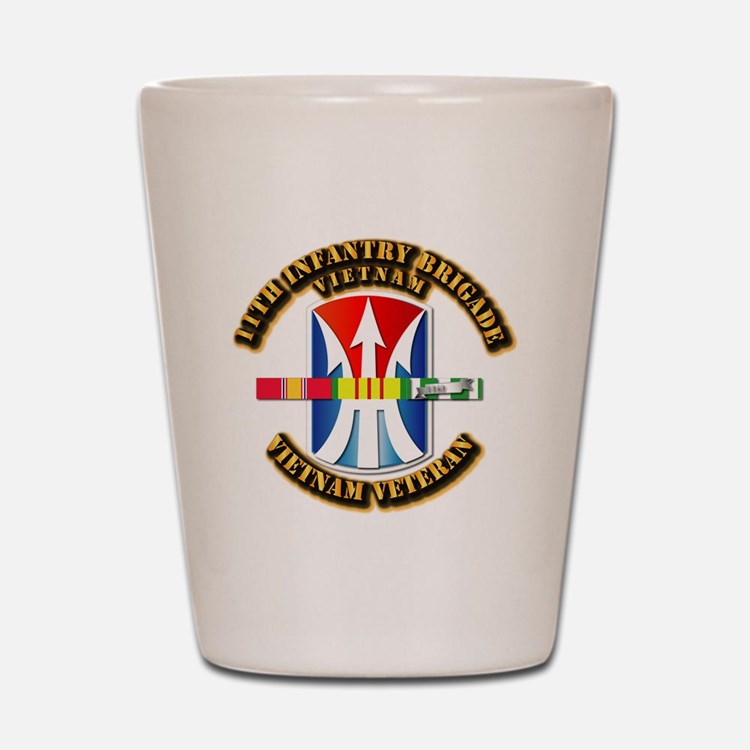 Army - 11th Infantry Bde w Svc Ribbons Shot Glass
