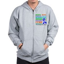 Colon Cancer Believe Strength Zip Hoodie