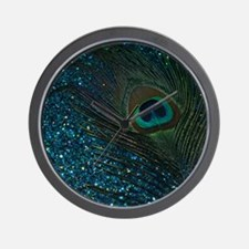 Glittery Aqua Peacock Wall Clock