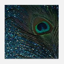 Glittery Aqua Peacock Tile Coaster