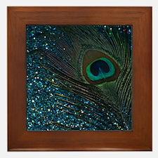 Glittery Aqua Peacock Framed Tile