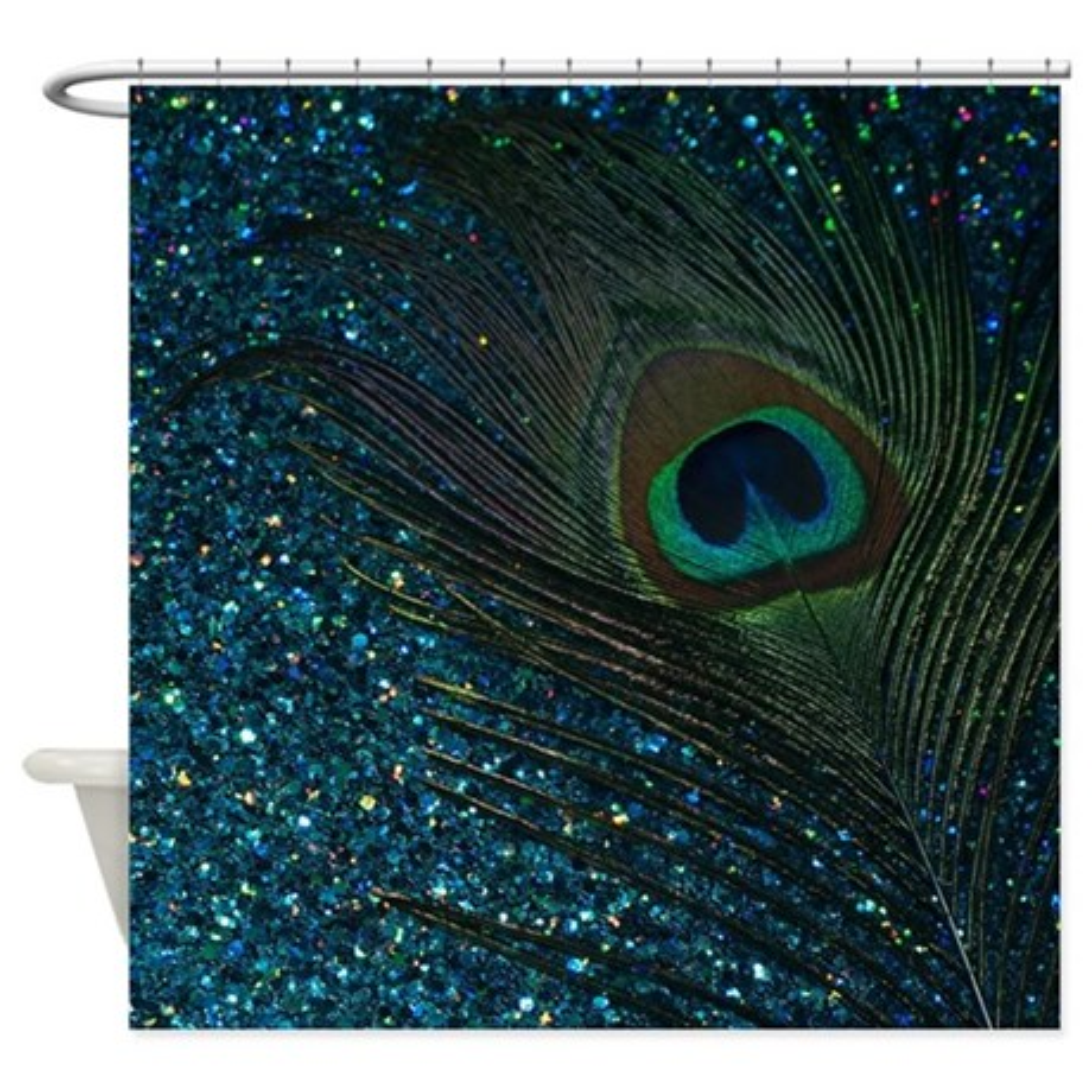 CafePress Glittery Aqua Peacock Shower Curtain