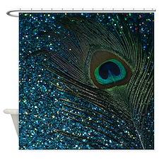 Glittery Aqua Peacock Shower Curtain