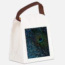 Glittery Aqua Peacock Canvas Lunch Bag