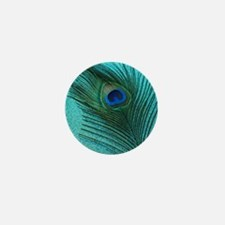 Metallic Aqua Peacock Mini Button